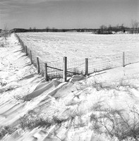 Snowy field by I-94, Lake Mills, WI.  Christmas Day, 1976