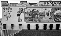 "Mural mash-up of Betty Boop with ""The Atchison, Topeka, and Santa Fe,"" and ""Route 66"" songs. Ramada Inn, Kingman, AZ. March 2017"
